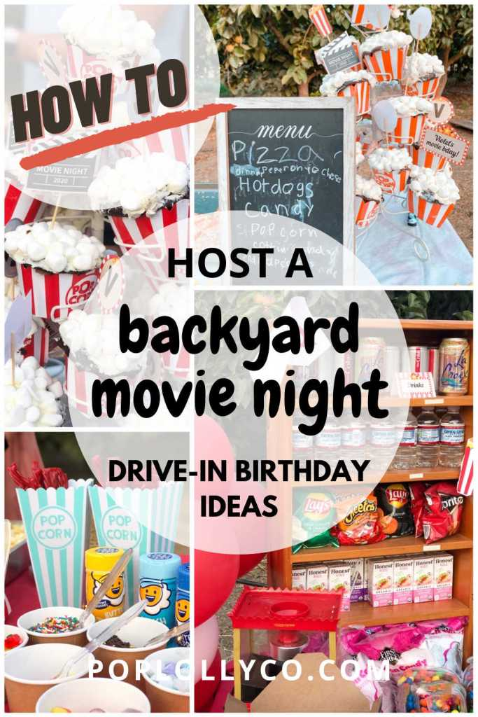 rustic drive in backyard movie night | kids outdoor birthday ideas | Poplolly co