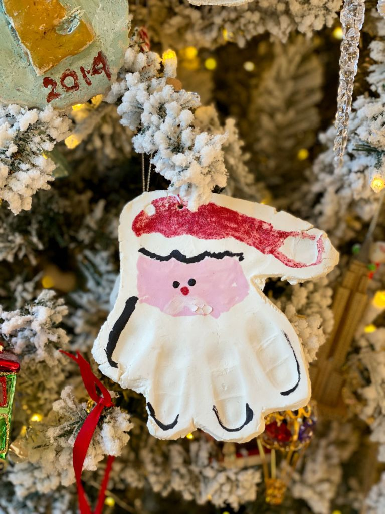 handprint Santa painted salt dough ornament | Poplolly co