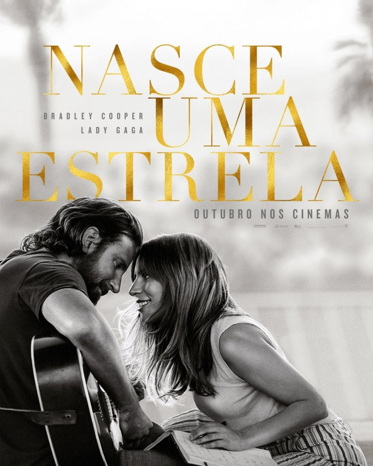 """Cartaz do filme """"Nasce uma Estrela"""", estrelado por Lady Gaga e Bradley Cooper."""