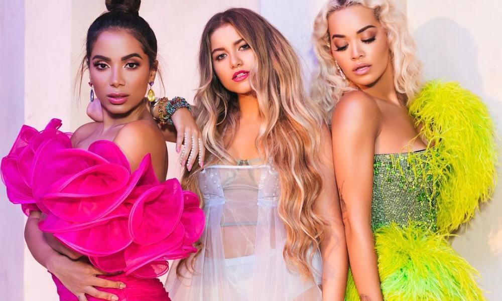 Sofia Reyes, Rita Ora e Anitta. Foto: Divulgação