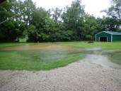 The yard is flooded.