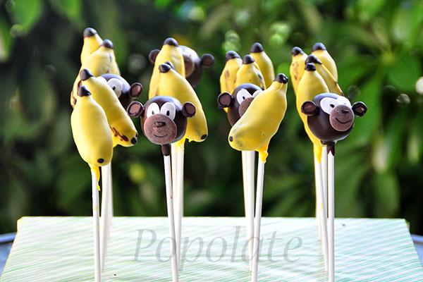 Monkey and banana cake pops
