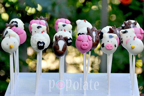 horse sheep pig cow hen cake pops