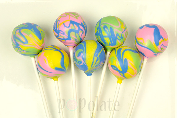 Marbled four colour cake pops