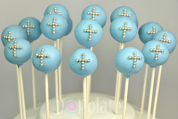 Silver cross blue christening cake pop
