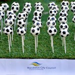 Soccer ball cake pops corporate cake pops