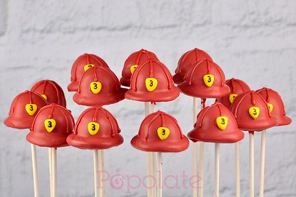 Fireman hat cake pops