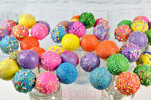 Colourful sprinkle cake pops
