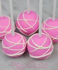 Hot pink, white swirl, cake pops