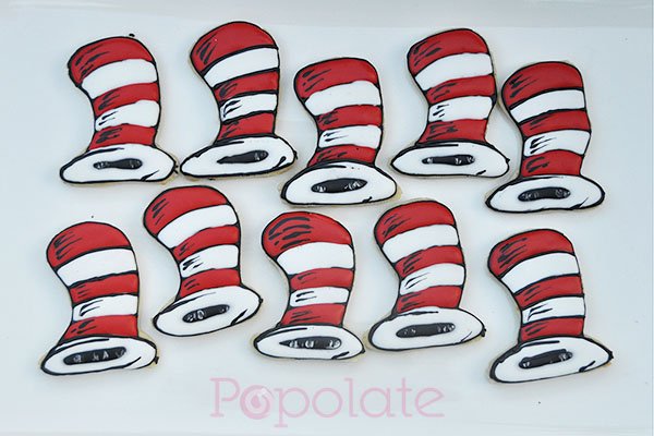 Dr Seuss Cat in the Hat cookies