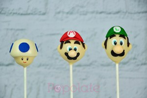 Mario, Luigi and Toad cake pops
