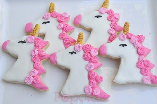 Pink unicorn cookies