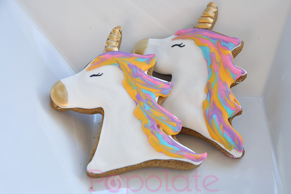 Pastel and gold unicorn cookies