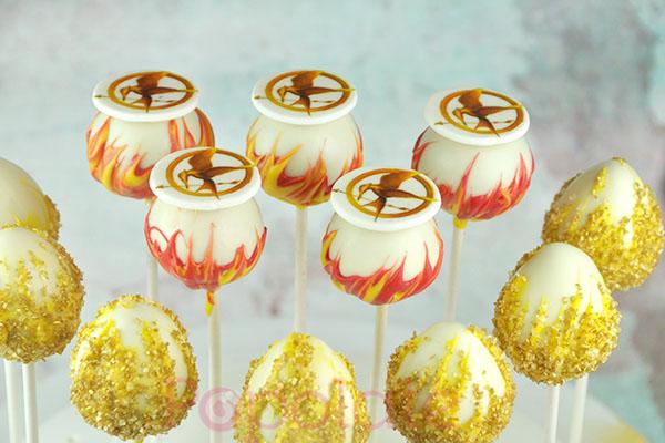 Hunger Games flames cake pop