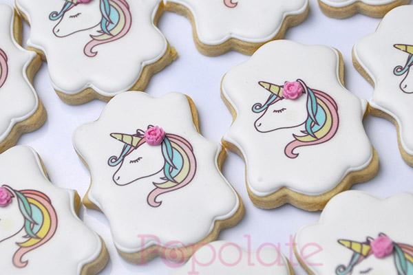 Pastel rainbow unicorn printed cookies