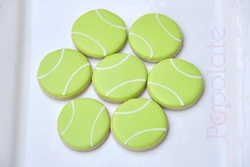 Tennis ball royal icing cookies