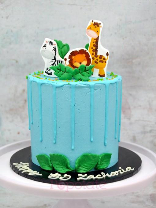 Jungle animal cake blue