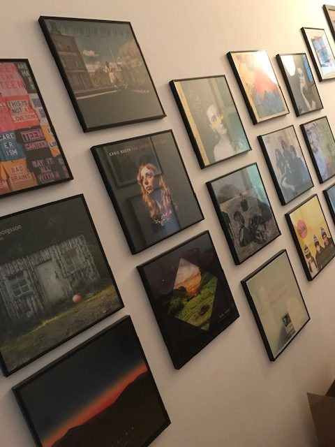 Wall of fame LP covers at Last Night From Glasgow HQ
