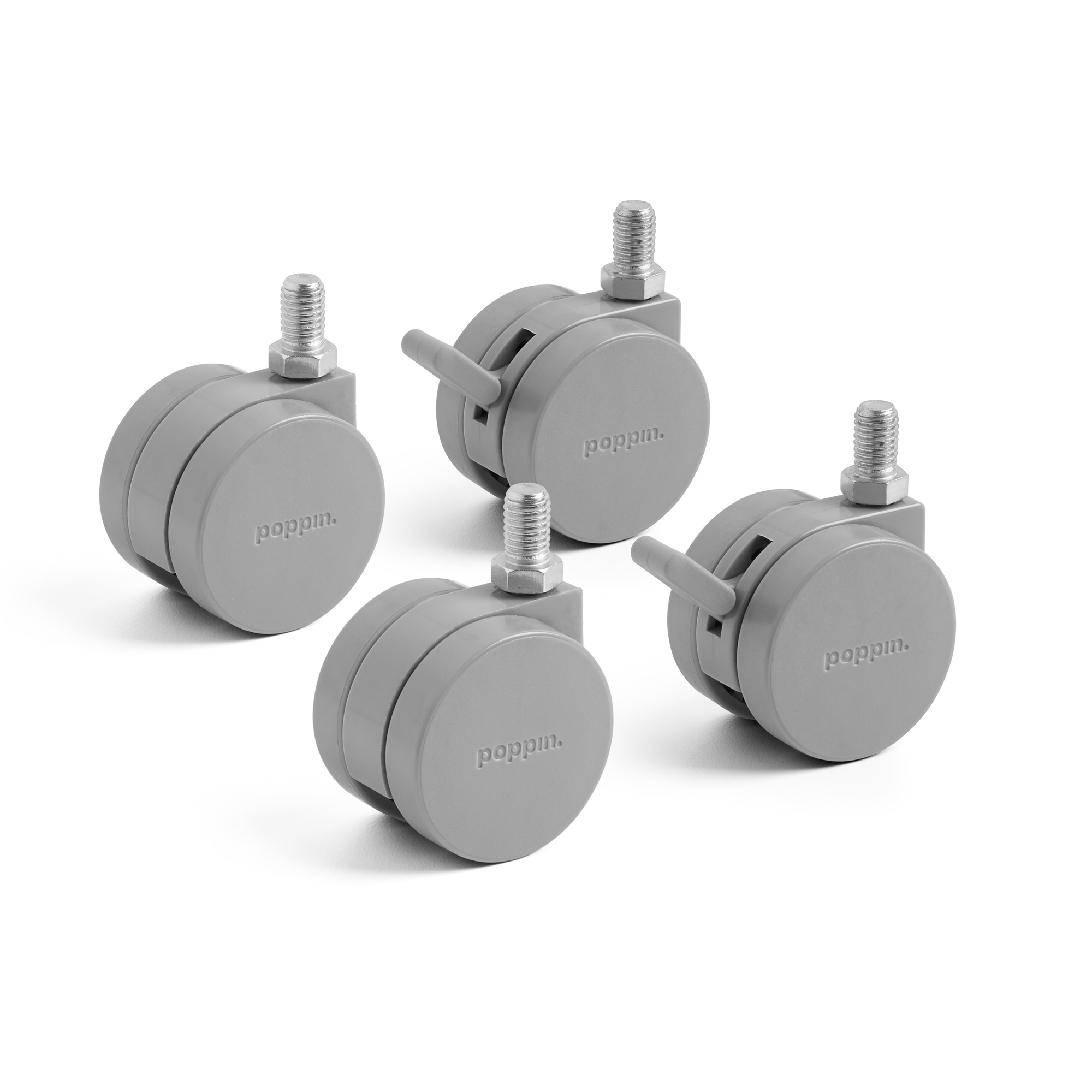Set Of 4 Gray Casters Poppin