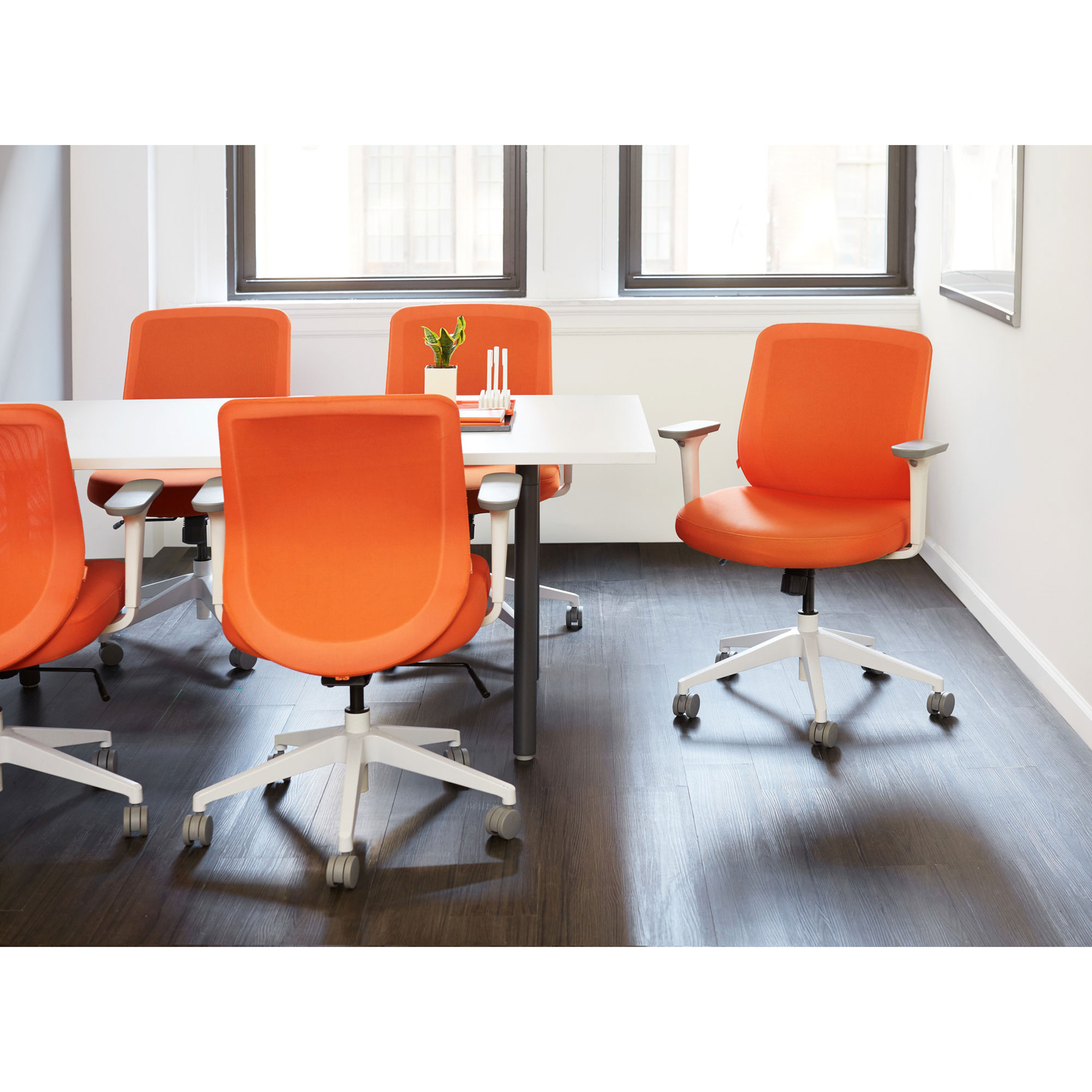 Office Chairs  Computer Desk   Home Office Chairs   Modern Office     Orange Max Task Chair  Mid Back  White Frame Orange hi res