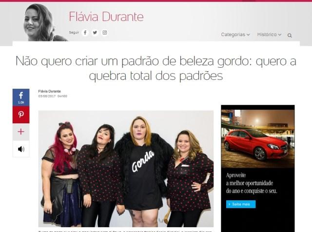 Flávia Durante estreia blog no Uol