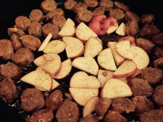 Potatoes in the pan!
