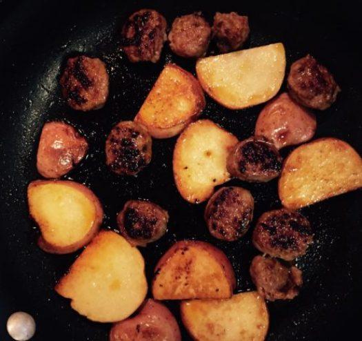 Sausage and Potatoes for Chicken Murphy http://poppopcooks.com/recipe/chicken-murphy/