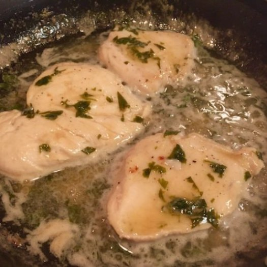 Quick and Easy Sautéed Chicken fillets with Lemon and Parsley poppopcooks.com