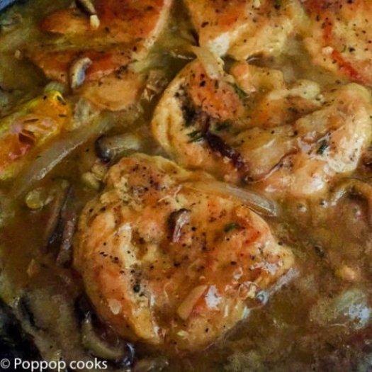 Chicken Sauteed in White Wine with Mushrooms-7-poppopcooks.com