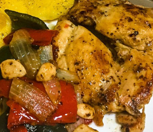 Pan Seared Chicken Peppers and Onions-7.-poppopcooks.com