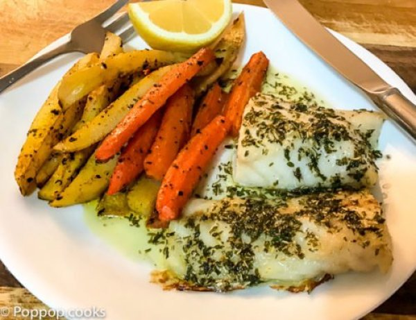Baked cod one pan dinner quick and easy 25 minutes for Baked cod fish recipes