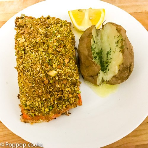 Pistachio Crusted Salmon Filets-7-poppopcooks.com-pistachio crusted-recipe for pistachio crusted salmon-baked salmon with pistachio crust-pistachio baked salmon-pistachio encrusted fish