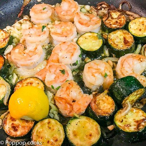 Shrimp Zucchinni onions garlic-3-poppopcooks.com-Shrimp recipes-easy shrimp recipes-cooking shrimp-shrimp dishes-shrimp meals