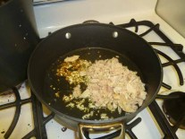 Cooking Garlic & Tuna In Olive Oil