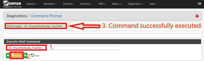 """Execution of command (without quotes) """"mv /tmp/dshield.php /root/bin/"""""""