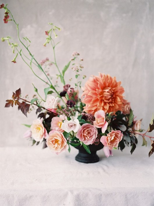 Peach and Pink Centerpiece Photography