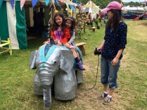 Elephant rides at Glastonbury Festival
