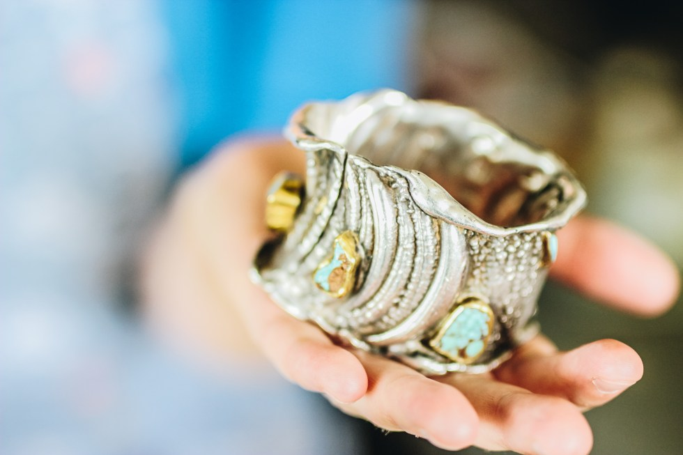 My favourite piece from her collection a chunky silver and turquoise bracelet once owned by Liz Taylor.