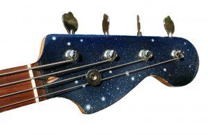 Poppy Porter: custom painted Space Bass headstock