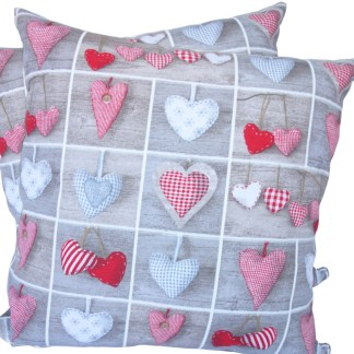 Hearts in Squares design Scatter Cushion
