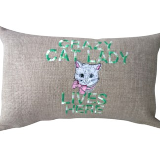 Crazy Cat Lady Embroidered Oblong Cushion