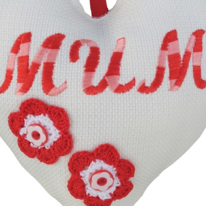 Padded Hanging Heart - Mum & Flowers, embroidered gift