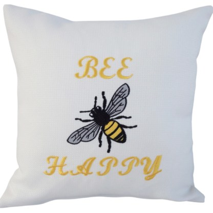 Bee Happy Embroidered Cushion