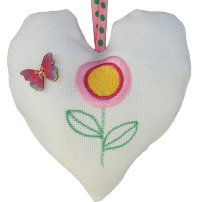 Padded Hanging Heart Pink Flower