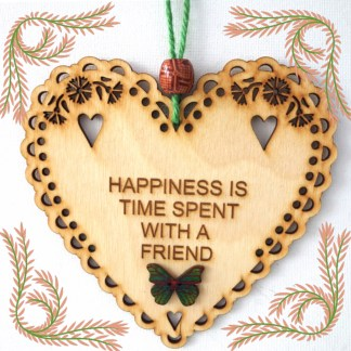 Wooden Hanging Heart Happiness