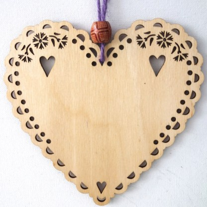 15cm Wooden Hanging Heart - Voices, engraved gift