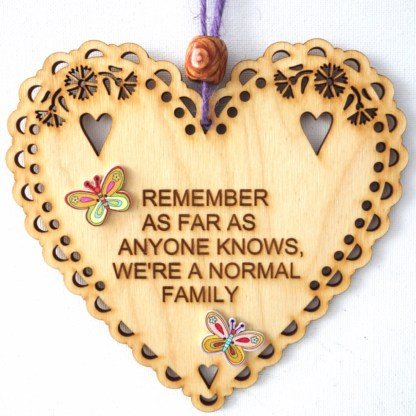 15cm Wooden Hanging Heart - Normal Family, engraved gift