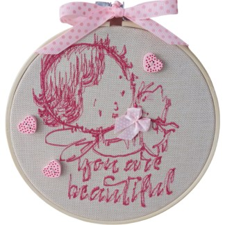 Embroidery Hoop Art - Pink Child small gift