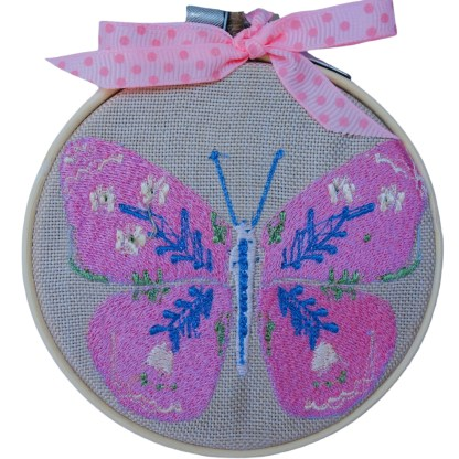 Embroidery Hoop Art - Pink Butterfly small gift