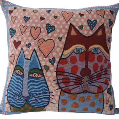 Cat & Hearts Feature Cushion - home decor gift